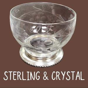 Antique Birks antique sterling/crystal sugar bowl
